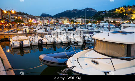 The Sailing harbor at twilight, Cassis, Bouches-du-Rhone, France - Stock Photo