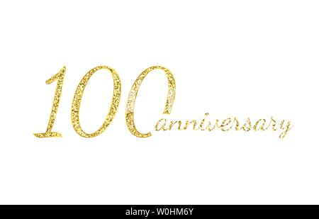 100 anniversary logo concept. 100th years birthday icon. Isolated golden numbers on white background. Vector illustration. EPS10. - Stock Photo