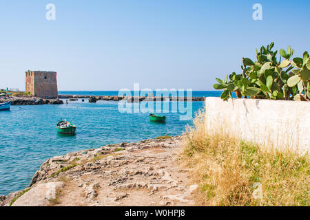 Baroque watchtower, beautiful old tower in San Vito, Polignano a Mare, Bari, Puglia, Italy with with blue sea, wooden boats, beach and cactus, Mediter - Stock Photo