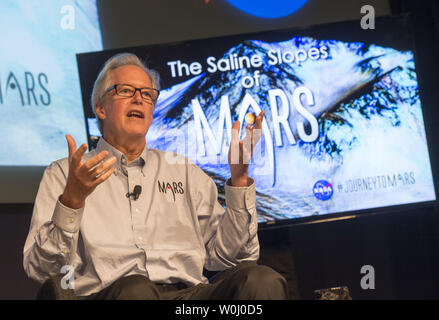 Michael Meyer, lead scientist for the Mars Exploration Program at NASA Headquarters, speaks at a press conference announcing that NASA has confirmed that liquid water flows on the surface of Mars, at NASA headquarters in Washington, D.C. on September 28, 2015. NASA's Mars Reconnaissance Orbiter (MRO) provided the strongest evidence yet that liquid water flows intermittently on present-day Mars which opens up the idea that life of some kind may exist now or in the past on Mars.  Photo by Kevin Dietsch/UPI - Stock Photo