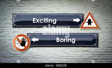 Street Sign the Direction Way to Exciting versus Boring - Stock Photo