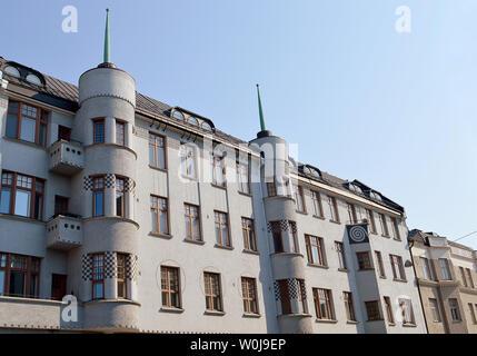 The spiked towers of the1907 art nouveau Kasten building on Korkeavuorenkatu in Kaartinkaupunki, Helsinki, designed by architect Emil Svensson. - Stock Photo