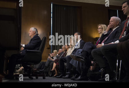Former ExxonMobil CEO Rex Tillerson, President-Elect Trump's nominee for Secretary of State, testifies during his Senate Foreign Relations Committee confirmation hearing, on Capitol Hill in Washington, D.C. on January 11, 2017. Tillerson's close business relationship with Russia is expected to be scrutinized by the panel. Photo by Kevin Dietsch/UPI - Stock Photo