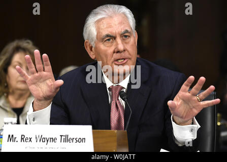 Former ExxonMobil CEO Rex Tillerson, nominated for secretary of state, responds to questioning during Senate Foreign Relations Committee confirmation hearings, on Capitol Hill, January 11, 2017, in Washington, DC. Tillerson's close business relationship with Russia is expected to be scrutinized by the panel.             Photo by Mike Theiler/UPI - Stock Photo