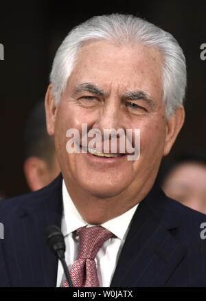 Former ExxonMobil CEO Rex Tillerson, nominated for secretary of state, smiles as he arrives for his Senate Foreign Relations Committee confirmation hearings, on Capitol Hill, January 11, 2017, in Washington, DC. Tillerson's close business relationship with Russia is expected to be scrutinized by the panel.             Photo by Mike Theiler/UPI - Stock Photo