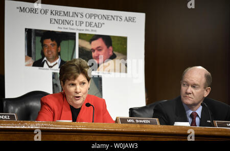 Sen. Jeanne Shaheen (L) questions former ExxonMobil CEO Rex Tillerson, nominated for secretary of state, as Sen. Christopher Coons listens, during Senate Foreign Relations Committee confirmation hearings, on Capitol Hill, January 11, 2017, in Washington, DC. Tillerson's close business relationship with Russia is expected to be scrutinized by the panel.             Photo by Mike Theiler/UPI - Stock Photo