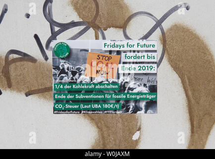 Sticker Fridays for Future in Berlin - Stock Photo