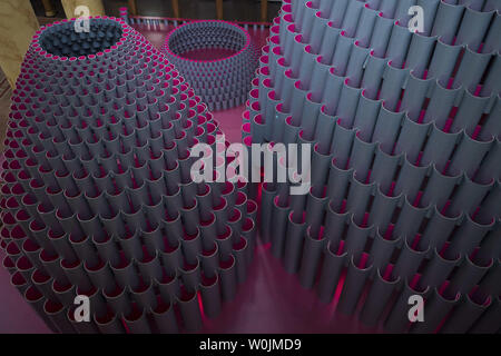 The exhibit titled 'Hive' is seen in the great hall at the National Building Museum in Washington, D.C. on August 10, 2017. The 60 foot high installation is constructed out of 2,700 wound paper tubes. Photo by Kevin Dietsch/UPI - Stock Photo
