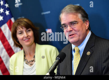 Rep. John Abney Culberson, R-TX, (R) speaks alongside Rep. Cathy McMorris Rodgers, R-WA, as he talks about Hurricane Harvey relief following a Republican caucus meeting at the U.S. Caption in Washington, D.C. on September 6, 2017. Photo by Kevin Dietsch/UPI - Stock Photo