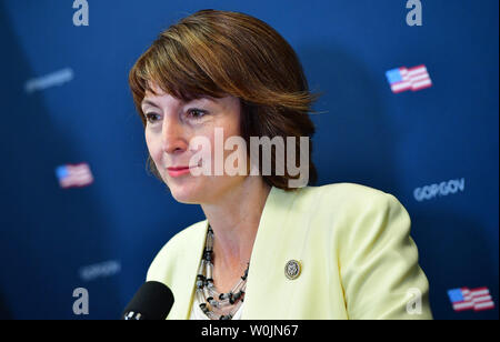 Rep. Cathy McMorris Rodgers, R-WA, speaks at a press conference following a Republican caucus meeting at the U.S. Caption in Washington, D.C. on September 6, 2017. Photo by Kevin Dietsch/UPI - Stock Photo