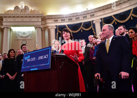 Rep. Cathy McMorris Rodgers, R-WA, speaks at a press conference unveiling the Republican's new tax plan, on Capitol Hill in Washington, D.C. on November 2, 2017. Brady was joined by fellow Republican caucus members and American citizens. Photo by Kevin Dietsch/UPI - Stock Photo