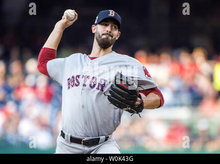 Boston Red Sox starting pitcher Rick Porcello pitches against the Washington Nationals in the first inning at Nationals Park in Washington, D.C. on July 2, 2018. Photo by Kevin Dietsch/UPI - Stock Photo