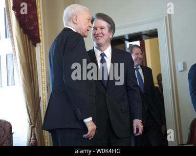 Brett Kavanaugh, President Trump's nominee to be the next Supreme Court Associate Justice, meets with Sen. Orrin Hatch, R-UT, on Capitol Hill in Washington, D.C. on July 11, 2018. Photo by Kevin Dietsch/UPI - Stock Photo