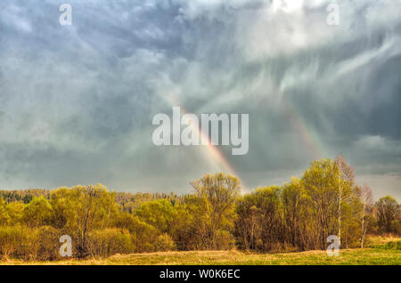 Colorful double Rainbow on cloudy sky over forest after spring rain - beautiful spring rural landscape. Celestial phenomenon - sunlight refraction in - Stock Photo