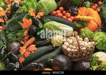 Colorful natural background of fresh organic vegetables. Vegeterian food, diet and healthy life concept. Top view - Stock Photo
