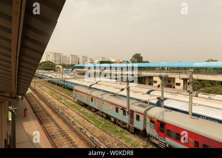 BANGALORE INDIA June 3, 2019 : Aerial view of stack of trains standing at railway track at railway station Bengaluru. - Stock Photo