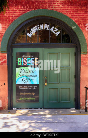 Entrance doorway poster to the Bisbee Visitor Information Center at Queen Plaza in Bisbee, AZ - Stock Photo