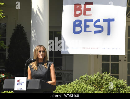First Lady Melania Trump makes remarks as she hosts a celebration of the first anniversary of Be Best, in the Rose Garden of the White House, May 7, 2019, in Washington, DC. The First Lady's initiative promotes well being, fights opioid abuse and encourages online safety for children.     Photo by Mike Theiler/UPI - Stock Photo