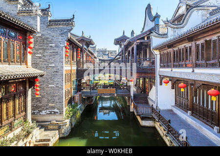 Ancient Street Water Lane, Taierzhuang Ancient City, Zaozhuang City, Shandong Province - Stock Photo