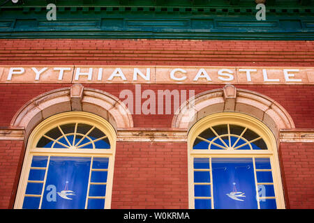 The Pythian Castle building in historic Bisbee AZ. Once a secret society lodge, now newly restored into apartments - Stock Photo