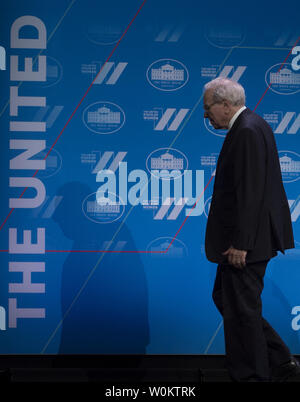 Warren Buffett walks off stage after speaking at the White House United State of Women Summit in Washington, D.C. on June 14, 2016.   Photo by Molly Riley/UPI - Stock Photo