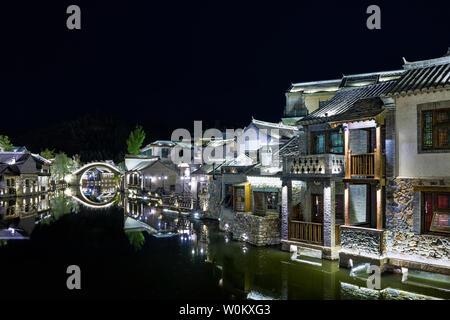Night in Miyun Gubei Water Town, Beijing - Stock Photo