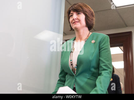 Rep. Cathy McMorris Rodgers (R-WA) walks into a press conference on Capitol Hill after House Republicans held a strategy meeting about the tax bill and upcoming deadline to pass a spending bill to fund the government in Washington, DC on December 5, 2016.    Photo by Erin Schaff/UPI - Stock Photo