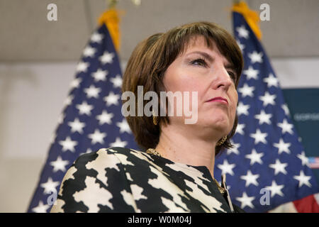 Rep. Cathy McMorris Rodgers (R-WA) listens to remarks during a press conference about  the tax reform bill on Capitol Hill in Washington, DC on December 19, 2017. House Republicans are planning to pass their tax reform bill today. Photo by Erin Schaff/UPI - Stock Photo