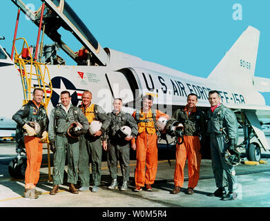 Gordon Cooper Jr., one of America's first seven astronauts, died on October 4, 2004 at his home in Ventura, Calif. He was 77 years old.  Cooper piloted the sixth and last flight of the Mercury program and later commanded Gemini 5.  The file image shows the 'Original Seven' Mercury astronauts. From left: Scott Carpenter, Cooper, John Glenn, Gus Grissom, Wally Schirra, Alan Shepard, and Deke Slayton.   (UPI Photo/NASA) - Stock Photo