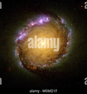 This undated NASA Hubble Space Telescope showthe spiral galaxy NGC 1512 captured in all wavelengths from ultraviolet to infrared. NGC 1512 is located 30 million light-years away from Earth.The galaxy's core is unique for its stunning 2,400 light-year-wide circle of infant star clusters, called a 'circumnuclear' starburst ring. (UPI Photo/NASA) - Stock Photo