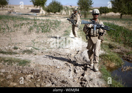 U.S. Marine Corps Cpl. Robert Dominguez, a team leader with Regimental Combat Team 8, 3rd Platoon, Bravo Company, 1st Battalion, 5th Marine Regiment, walks between cornfields while conducting a security patrol in Sangin, Afghanistan, on July 22, 2011.  Marines conducted patrols to suppress enemy activity and gain Afghan trust.    UPI/Kowshon Ye/USMC - Stock Photo