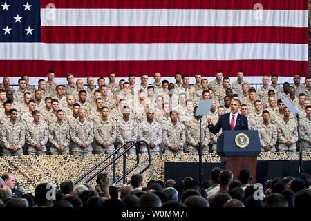President Barack Obama speaks at Marine Corps Base Camp Pendleton, California, August 7, 2013. Obama said he holds a special place in his heart for Marines, as he is constantly surrounded and protected by them. UPI/Michael Cifuentes/DOD - Stock Photo