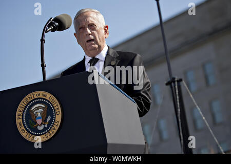 Jim Mattis, U.S. secretary of defense, speaks during a ceremony to commemorate the September 11, 2001 terrorist attacks with U.S. President Donald Trump, not pictured, at the Pentagon in Washington, D.C., on September 11, 2017. Trump is presiding over his first 9/11 commemoration on the 16th anniversary of the terrorist attacks that killed nearly 3,000 people when hijackers flew commercial airplanes into New York's World Trade Center, the Pentagon and a field near Shanksville, Pennsylvania.     Photo by Andrew Harrer/UPI - Stock Photo