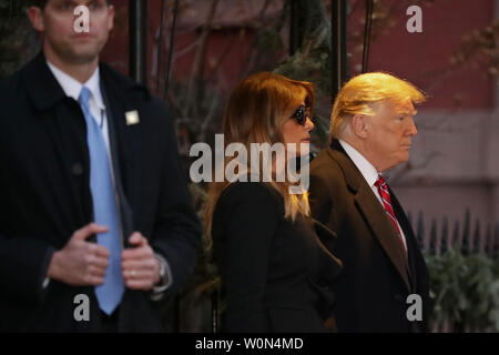 First lady Melania Trump and President Donald Trump leave the Blair House after paying a visit to the family of former President George H.W. Bush December 4, 2018 in Washington, DC. The Trumps were paying a condolence visit to the Bush family who are in Washington for former President George H.W. Bush's state funeral and related honors.   Photo by Chip Somodevilla/UPI