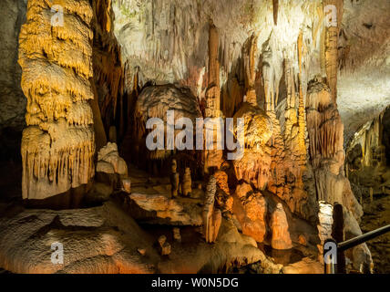 Strange rock formations underground in cave system - Stock Photo