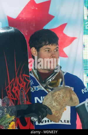Jasey Jay Anderson of Canada on the podium wins gold in the men's dual Parallel Giant Slalom event of the FIS Whistler World Snowboard Championships on Blackcomb Mountain, January 18, 2005.    (UPI Photo/Heinz Ruckemann) - Stock Photo