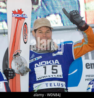 Jasey Jay Anderson of Canada wins gold in the men's Parallel Slalom event of the FIS Whistler World Snowboard Championships on Blackcomb Mountain, January 19, 2005.    (UPI Photo/Heinz Ruckemann) - Stock Photo