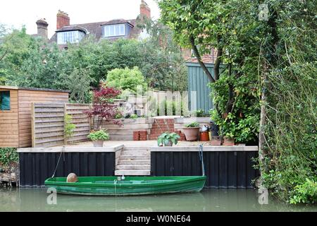 back garden with river access - Stock Photo
