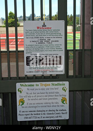 Castro Valley High school stadium rules sign on entrance