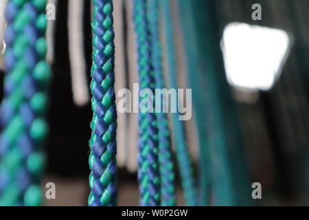 Hanging art installation closeup in a hipster restaurant - Stock Photo