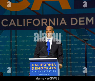 San Francisco, CA - June 01, 2019: Presidential candidate Cory Booker, U.S. Senator, speaking at the Democratic National Convention at Moscone center
