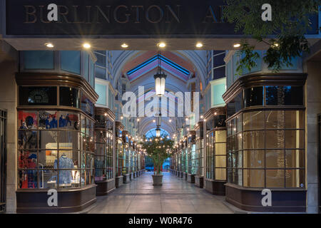 Image of the Burlington Arcade on South Lake Avenue.  The Arcade is a nearly spot-on facsimile of its namesake shopping center in London. - Stock Photo