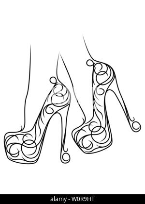 sketching outline of graceful female feet in abstract