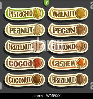 Vector Set of Nuts labels - Stock Photo