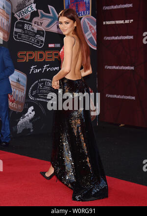 HOLLYWOOD, CA - JUNE 26: Zendaya attends the premiere of Sony Pictures' 'Spider-Man Far From Home' at TCL Chinese Theatre on June 26, 2019 in Hollywood, California. - Stock Photo