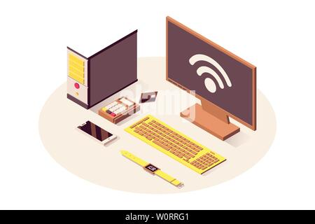 IoT technology vector isometric illustration. Cloud computing service, wifi wireless connection, telecommunication system. Computer, payment terminal, smartphone and smart watch isolated 3d clipart - Stock Photo