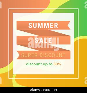 Summer sale flat vector banner template. Super discount offer in square frame, 50 percent lower price advert. Seasonal clearance promotion for social media post, marketing advertising poster layout - Stock Photo