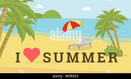I love summer vector postcard template. Seaside resort with deck chair, beach umbrella promotional poster layout. Travel agency advert, trendy photoshoot location, photozone idea with heart symbol - Stock Photo