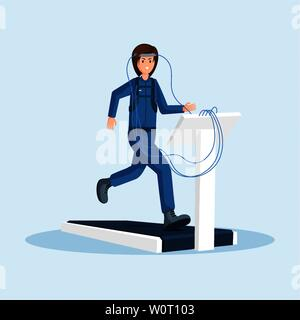 Astronaut physical training flat vector illustration. Female cosmonaut testing, workout, running on treadmill exercise machine cartoon character. Space mission preparing isolated clipart - Stock Photo