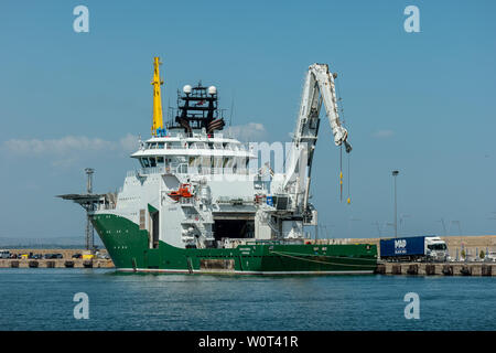 BURGAS, BULGARIA - AUGUST 20, 2017: An Inspection, Maintenance and Repair (IMR) vessel Havila Subsea (Offshore Supply Ship) in the seaport of Burgas. - Stock Photo